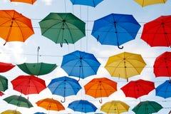 Multicolor umbrellas in the sky Stock Photography