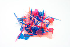 Multicolor valentines toothpicks Stock Photos