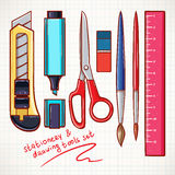 Multicolor various stationery Stock Photo
