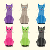 Multicolor vector cats set Stock Image