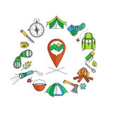 Multicolor vector icons set wild tourism Stock Images