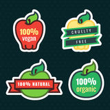 Multicolor vegan, cruelty free, natural and organic products apple stickers in vector. Multicolor vegan, cruelty free, natural and organic products apple stock illustration