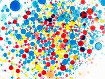 multicolor vektor för abstrakt bakgrundsillustration Bubblor av målarfärg och färgpulver på en vit, modell av droppe Fotografering för Bildbyråer