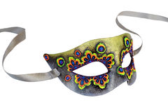 Multicolor Venetian Carnival half mask with ribbon isolated on white background Royalty Free Stock Images