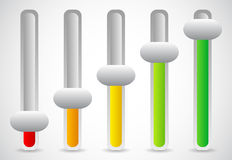 Multicolor vertical sliders, adjusters or faders. User inteface Stock Photography