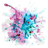 Multicolor watercolor splash stain. Multicolored Grunge Background With Blue, Vinous and Green Splashes Stock Photography