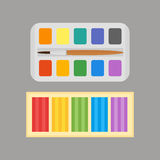 Multicolor watercolour paint box and plasticine vector illustration drawing container education school and hobby tool Royalty Free Stock Images