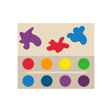 Multicolor watercolour paint box vector illustration. Drawing container education school hobby tool. Creativity colorful palette equipment stock illustration