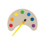 Multicolor watercolour paint box vector illustration. Drawing container education school hobby tool. Creativity colorful palette equipment vector illustration