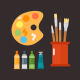 Multicolor watercolour paint box vector illustration drawing container education school and hobby tool creativity. Colorful palette equipment. Hand drawn signs vector illustration