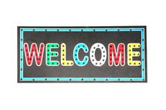 Multicolor welcome light blub sign isolated on white background royalty free illustration