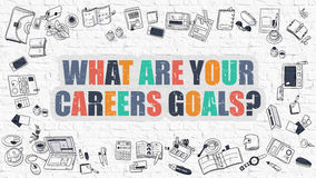 Multicolor What are Your Careers Goals on White Brickwall. Dood Stock Photo