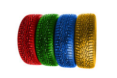 Multicolor winter tires Royalty Free Stock Image