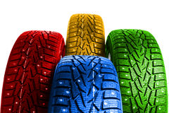 Multicolor winter tires Stock Images