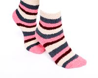Multicolor women`s fuzzy ankle socks with stripes Royalty Free Stock Photography