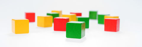 Multicolor wooden building bricks Stock Image