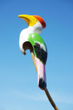 Multicolor wooden carving of hornbill toy bird Royalty Free Stock Photography