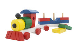 Multicolor wooden train. Isolated on white background. clipping path included Royalty Free Stock Photos