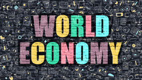 Multicolor World Economy on Dark Brickwall. Doodle Style. Royalty Free Stock Photography