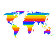 Multicolor world map in gay pride concept Stock Images