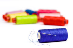 Multicolor yarn bobbins Stock Photo