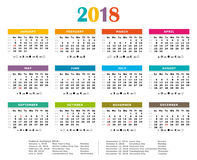 2018 Multicolor yearly calendar. Federal holidays, moon and numbers of weeks Stock Photo