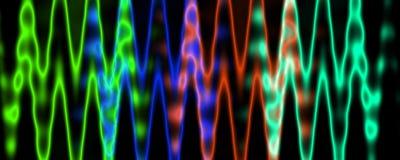 Multicolor zamazane jarzy się linie odizolowywać na czarnym tle Amplitudy modulacja royalty ilustracja