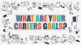 Multicolore ce qui sont vos buts de carrières sur Brickwall blanc Dood Photo stock