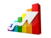 Multicolored 3D graph with white arrow. On white background Royalty Free Stock Photography