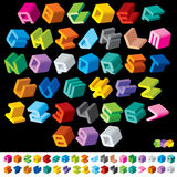 Multicolored 3D Letters. 3D Multicolor Isometric Letters and Numbers royalty free illustration
