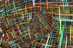 Multicolored abstract checkered fractals pattern. Comic background. Digitally generated image vector illustration