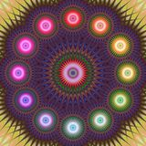 Multicolored fractal mandala background. Multicolored abstract computer generated fractal mandala background Stock Photo