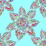 Multicolored abstract flowers, oriental seamless pattern Royalty Free Stock Images