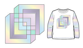 Multicolored abstract geometric composition. Can be used for apparel and other merchandise royalty free illustration