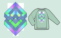 Multicolored abstract geometric composition. Can be used for apparel and other merchandise vector illustration