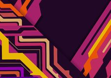 Multicolored  abstract geometric on purple background with copy space, Vector illustration.  Royalty Free Stock Image