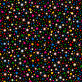 Multicolored abstract shining falling stars seamless texture black background. Festive, luxury or network graphic design concept. Stock Photo