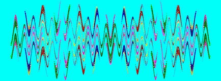 Multicolored abstract waveform pattern on azure background. Stock Image