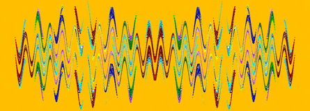 Multicolored abstract waveform pattern on orange background. Stock Images