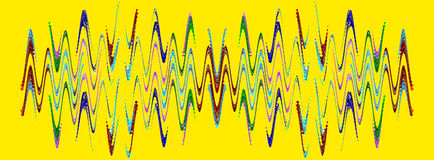 Multicolored abstract waveform pattern on yellow background. Royalty Free Stock Photography