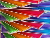 Multicolored abstraction. Multicolored geometry abstract background with cd boxes Stock Images