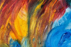 Multicolored abstraction by oil paints. Multicolored abstract background with oil paints. Large brush strokes. Riot of colors. Color transitions. Impressionism Royalty Free Stock Images