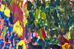 Multicolored abstraction by oil paints. Multicolored abstract background with oil paints. Smears with a brush. Riot of colors. Color transitions. Impressionism Stock Images