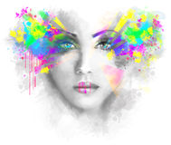 Multicolored abstractn Woman Beautiful portrait  illustration Stock Photography