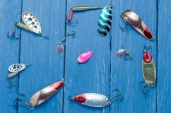 Multicolored accessories. Multicolored bait for fishing. royalty free stock photo
