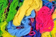 Multicolored acrylic yarn background Royalty Free Stock Photos