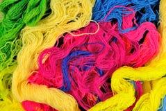 Multicolored acrylic yarn background Stock Photo