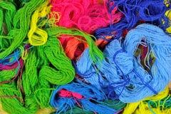 Multicolored acrylic yarn background Stock Images