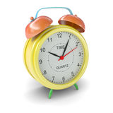 Multicolored alarm clock on white background Stock Photos