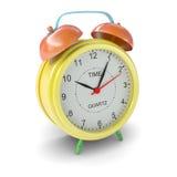 Multicolored alarm clock on white background Stock Photos
